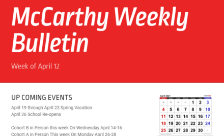 McCarthy Weekly Bulletin April 12, 2021