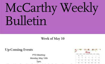 McCarthy Middle School Weekly Bulletin-May 7, 2021
